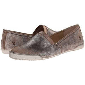 Frye Melanie Metallic Gold Leather Slip On Flats 7